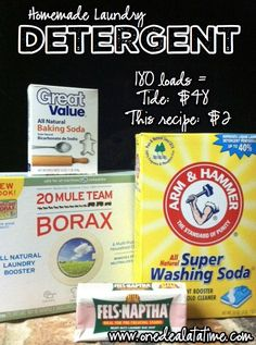 Homemade Laundry Detergent: Cost - $2 per 180 loads {up to 600 HE loads} - Extreme Couponing, Frugal Living, Family Recipes
