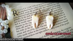 Hand Sculpted Fake teeth,Tooth Fairy Fun Kitsch Gothic Emo Novelty Gift earrings