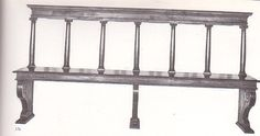 """Medieval bench of nut wood that 16th c but """"in a style more similar to 5th C tuscan furniture"""" It is at the Palazzina Marfisa Ferrara. This is the front view."""