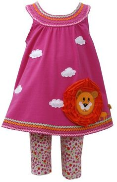 Bonnie Baby Baby Girls Lion Appliqued Legging Set Fuchsia 12 Months *** Details can be found by clicking on the image.