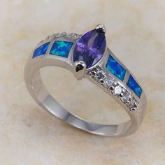 '14K WGF Created Amethyst and Blue Fire Opal Ring-Sz.7' is going up for auction Wed, Jun 12 with a starting bid of $7.  @Tophatter