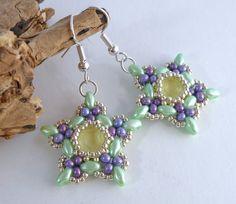 Green Purple & Yellow Bead Flower Earrings by BeauBellaJewellery