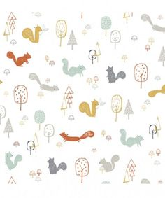 Papier peint squirrels wood Woodland by Lizzie Mackay par Lilipinso Kids Wallpaper, Room Wallpaper, Pattern Wallpaper, Kids Patterns, Print Patterns, Baby Illustration, Woodland Illustration, Kids Prints, Stuffed Animal Patterns