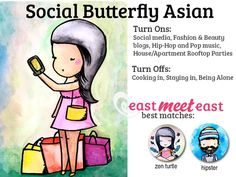 I am a Social Butterfly Asian! What type of Asian are you, and who are you most compatible with? Take EastMeetEast's fun zodiac-inspired quiz here! https://www.facebook.com/pages/eastmeeteastcom/565982140109779