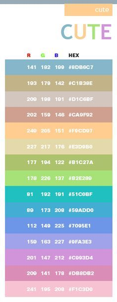 Cute Color Schemes Combinations Palettes For Print CMYK And Web RGB HTML