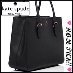 "Kate Spade Cove Street Airel Cross hatched leather with matching trim 12""(H) x 15""(W) x 6""(D); 8"" strap drop 14-karat light gold hardware Custom woven St. Elmo stripe lining Double slide pockets and interior zipper pocket kate spade Bags"