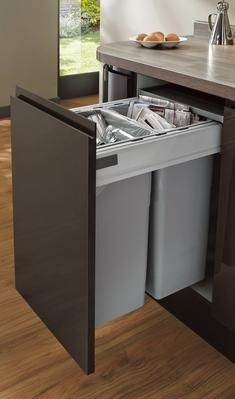 Bins unit in the kitchen Small Space Kitchen, Kitchen Units, Kitchen Cabinet Design, New Kitchen, Kitchen Storage, Kitchen Dining, Miele Kitchen, Kitchen Unit Handles, Howdens Kitchens