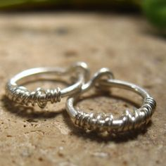 Hoop Earrings Silver with Silver Tangled