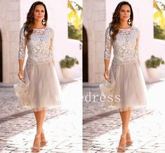 2017 Newest Mother Of The Bride Dresses With Long Sleeves Lace Tulle Knee Length Vintage Garden Beach Bridesmaid Dress Party Gowns Mother Of The Bride Gown, Mother Of Groom Dresses, Bride Groom Dress, Bride Gowns, Mothers Dresses, Mother Bride, Bride Suit, Cheap Wedding Guest Dresses, Elegant Wedding Guest Dress