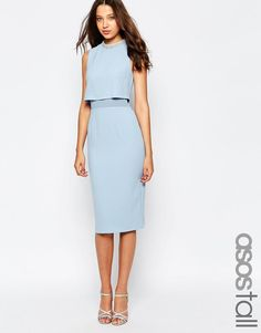ASOS Tall | ASOS TALL Embellished Stand Collar Midi Dress at ASOS