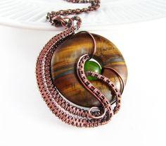 Wire+Wrapped+Jewelry+Tiger+Eye+Copper+Jewelry+by+PolymerPlayin,+$36.00
