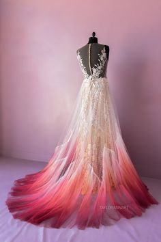 Fire Colored Lace Wedding Dress Purple and Blue Striped Wedding Dress Ombre Wedding Dress, White Wedding Dresses, Formal Dresses, Unique Colored Wedding Dresses, Dipped Wedding Dress, Ombre Gown, Ombre Prom Dresses, Striped Wedding, Wedding White