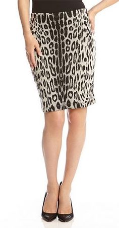 Chic and Stylish Black and Grey Snow Leopard Stretch BodyCon Pull-on Pencil Skirt