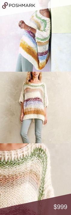 ANTHROPOLOGIE Woven Sweater Intricate Draped Tunic Size Small. Brand New With Tags.  • Beautiful pullover top featuring soft fuzzy fabric & oversized armholes. • Intentional fuzzy aspect with handmade pieced-knit eyelet detailing. • Striped metallic accents throughout & multicolor tones. • By Mes Demoiselles for Anthropologie. • Slouchy, loose-fitting & effortless. • Ivory, blue, purple, green & cream. • S = 4-6 = Eur 1.  # Boho Winter Bohemian Layering  • Same-Business-Day Shipping (10am…