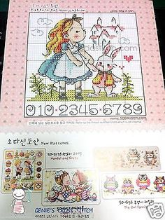 """Alice in Wonderland"" couted cross stitch chart(pattern Leaflet. - A new leaflet never used. - Contains color chart with symbols and Floss conversions for DMC, ANC and Yeidam. William Morris, Cross Stitch Fairy, Owl Family, Stitch Book, Cross Stitch Needles, Alice In Wonderland, Needlepoint, Needlework, Fairy Tales"