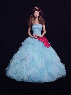 Love the color of dress and sash belt. Mercury duo Japanese wedding dress Aki Hoshino