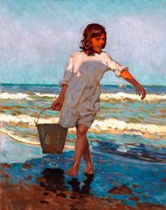 Alberto Pla Y Rubio Nina en la Playa hand painted oil painting reproduction on canvas by artist Seascape Paintings, Landscape Paintings, Beach Paintings, Impressionist Paintings, Portrait Paintings, Art Paintings, Portraits, Spanish Painters, Visual Texture