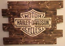 HARLEY-DAVIDSON MOTORCYCLE CHARRED WOOD SIGN 21X28 PALLET MAN CAVE CUSTOM MADE