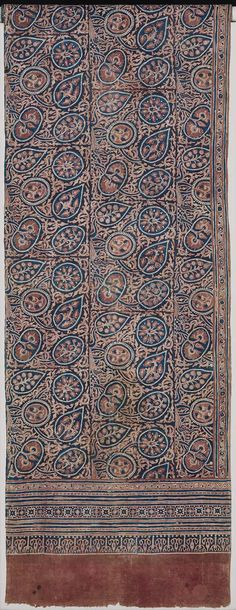 India | Ceremonial banner patterned with tree of life pattern repeated in two rows with smaller border below, resist dyed with indigo and madder  |Museum of Fine Arts, Boston