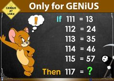 Only for Geniuses Math Puzzles with solution - Solve this Maths Puzzles! Welcome to our puzzles category. Here an another interesting and logic math puzzle for you. Solve this math puzzle only for genius. Genius Test, Math Genius, Logic Math, Logic Puzzles, Math For Kids, Fun Math, Mind Puzzles, Math Challenge, Brain Teaser Puzzles