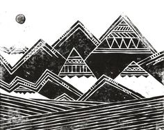 Abstract Tribal Mountains Illustration Art Print