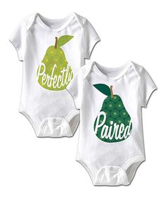 Another great find on #zulily! Happy Soul White 'Perfectly Paired' Twin Bodysuit Set - Infant by Happy Soul #zulilyfinds. $17.99