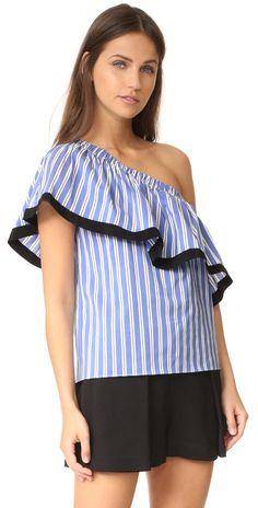 Milly Silk Stripe One Shoulder Top   SHOPBOP