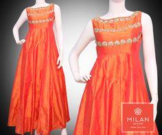 #MilanDesign Presents Pure Silk #OrangeGown with Hand Work & Embroidery Design  #milanfashionsarees #milansilksarees #milanfabricsarees #Milandesignersarees #Milansarees #Milandesignsarees