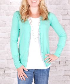 Look what I found on #zulily! Mint Button-Up Cardigan #zulilyfinds