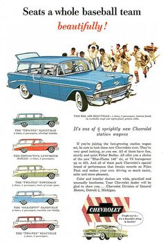 1956 Chevy wagon ad, concept translated into kijang euphoria by toyota Indonesia? Station Wagon, Vintage Advertisements, Vintage Ads, Classic Trucks, Classic Cars, General Motors, Gm Car, Car Advertising, Advertising Archives