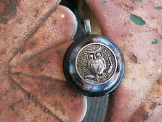 vintage button pendant 1960s owl on a branch by Suddendeersighting, $20.00