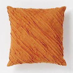 Diagonal Frayed Pillow - Mandarin #westelm