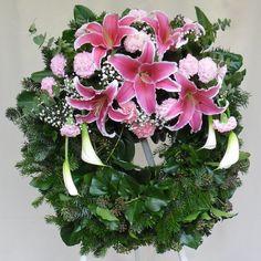 Koszorú - Rózsaszín fejrészes kis görög
