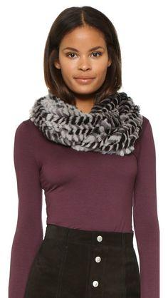 An elegant Adrienne Landau infinity scarf composed of variegated rabbit fur. Keeps your warm and looks great doing it.   Adrienne Landau Fur Loop Scarf