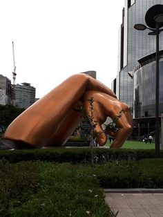 The K-POP Gangnam style symbol is in front of Samsung-dong Trade Center in Gangnam-gu, Seoul.