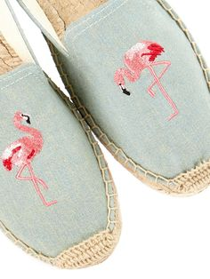 SOLUDOS Embroidered Smoking Slipper Espadrilles - Light Chambray | veryexclusive.co.uk