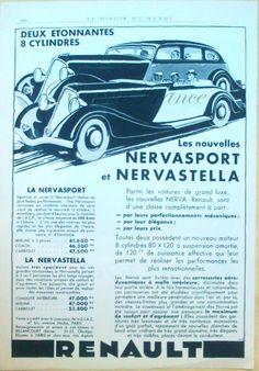 Original Vintage French Ad  Renault Automobile 1933 Nervasport and Nervastella by reveriefrance on Etsy