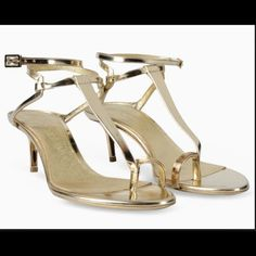 Emilio Pucci Gold Evening Sandals size 38.5 $795 Emilio Pucci Italian, kitten-heeled sandals, in shiny gold calf-leather. Summer 2015 collection. Stunning evening sandals perfect for the holidays! Size 38.5 upper gold leather wrap and instep flawless! Soles have normal wear. Excellent condition! Retail $795 sold out!   Low, kitten-heeled sandal in mirror-finish gold calf leather. Made in Italy. Style number 51CE93-51X30-26 Emilio Pucci Shoes Sandals