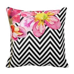 Chic Black and White Chevron with Pink Watercolor Floral Throw Pillows Chevron Throw Pillows, Yellow Pillows, Designer Throw Pillows, Decorative Throw Pillows, Couch Pillows, Black And White Pillows, White Throws, Black White, White Room Decor