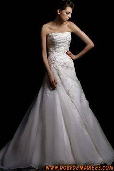 Robe de mariée bustier satin organza appliques dentelle perlé