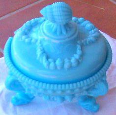 milk glass blue box