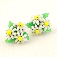 Vintage 1950s Earrings Glass Bead Flowers Germany Screw by Revvie1, $10.00