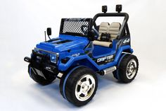 Jeep Wrangler Style 12V Kids Ride-On Car MP3 Battery Powered Wheels RC Remote | True Blue