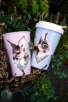 coffee to go cups - porcelain - freuleinfux #coffeetogo #coffeetime #coffeelover #togo #deer #deerlove #ohmydeer #coffeelove #bunny #bunnylove