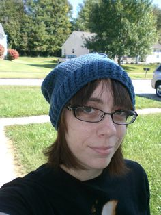 Crochet Slouchy Blue Beanie Hat With Drawstring by CrftPrty