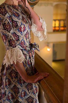 Modest Fashion / Weddings Bridesmaid Dresses Special Events Ruffles Lace / Melt my Heart Dress / Brocade Fabric Renaissance www.daintyjewells.com