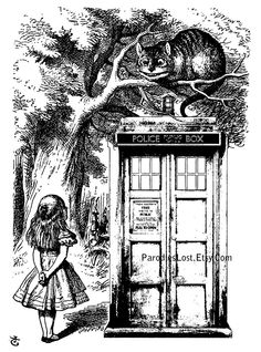 """""""Twas brillig, and the slithy toves did gyre and gimble in the wabe of wibbly-wobbly timey-wimey stuff.""""    Doctor Who TARDIS Print ALICE in WONDERLAND by ParodiesLost, via Etsy."""