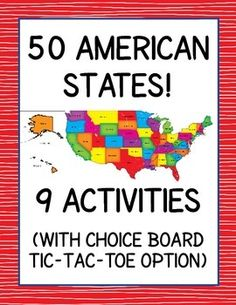 American States - 9 Activities.  Includes a Choice Board option.