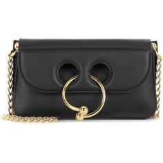JW Anderson Small Pierce Leather Shoulder Bag (€1.060) found on Polyvore featuring women's fashion, bags, handbags, shoulder bags, black, crossbody bags, leather cross body handbags, real leather handbags, leather crossbody and shoulder handbags