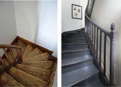 Peindre un escalier facilement en quelques étapes. A gauche, l'escalier au bois usé et blanchi. A droite l'escalier repeint dans une belle couleur gris anthracite. Peinture V33 Rénovation Plancher et Escalier